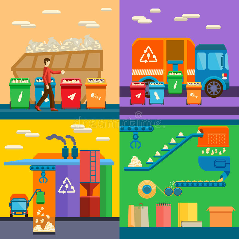 Waste sorting garbage recycling environment flat style vector illustration. royalty free illustration