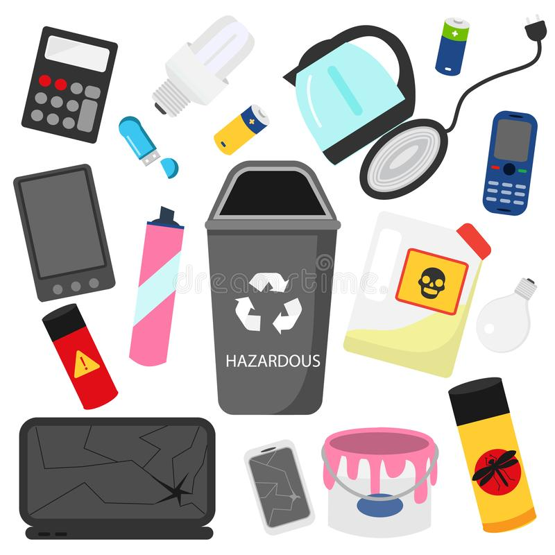 Waste sorting. Household hazardous garbage. e-waste, pesticides, batteries and other trash icons stock illustration