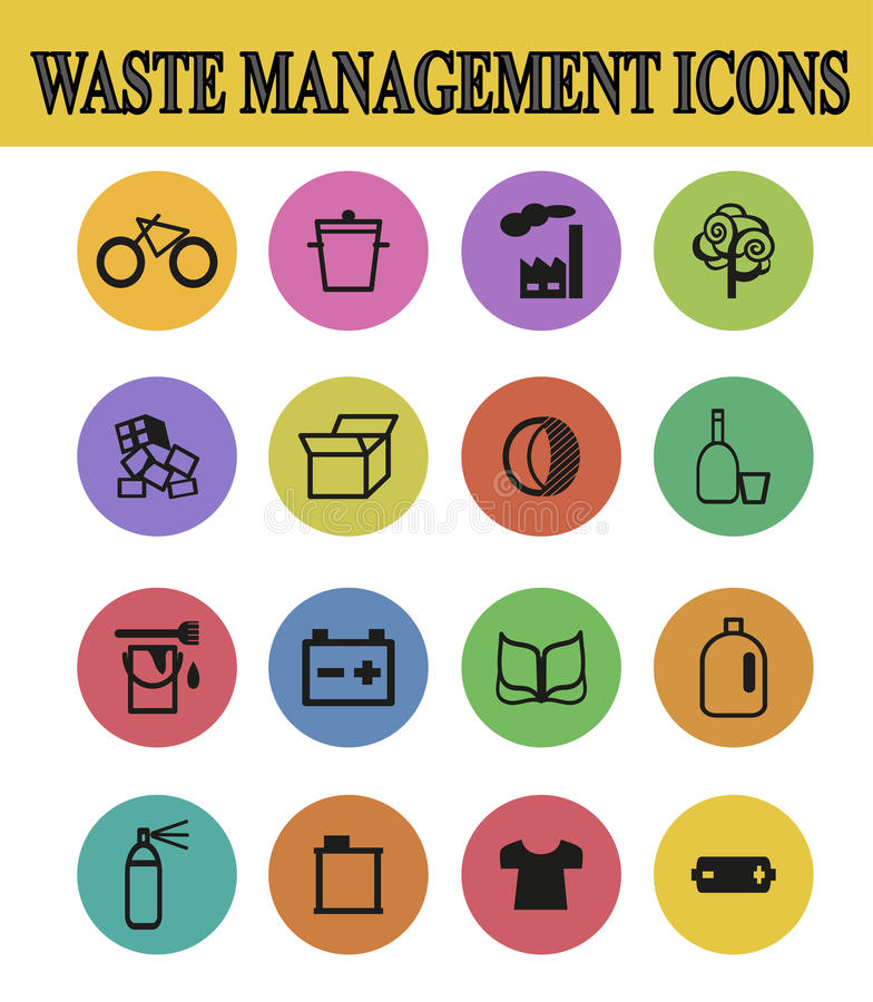 Waste sorting icons. Vector illustration of waste management icons royalty free illustration