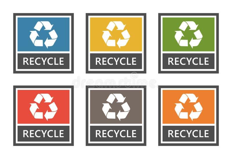 Waste management labels set, waste sorting for recycling. Waste sorting labels set, waste managment for recycling vector illustration