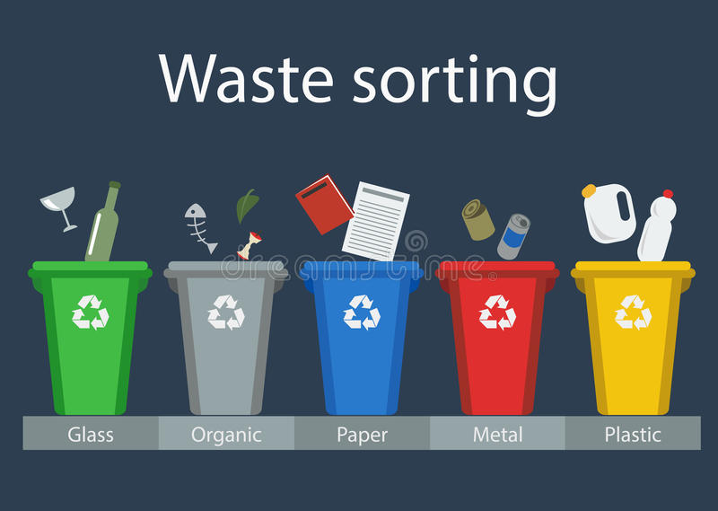 Waste sorting for recycling. Waste management, vector iilustration, flat style stock illustration