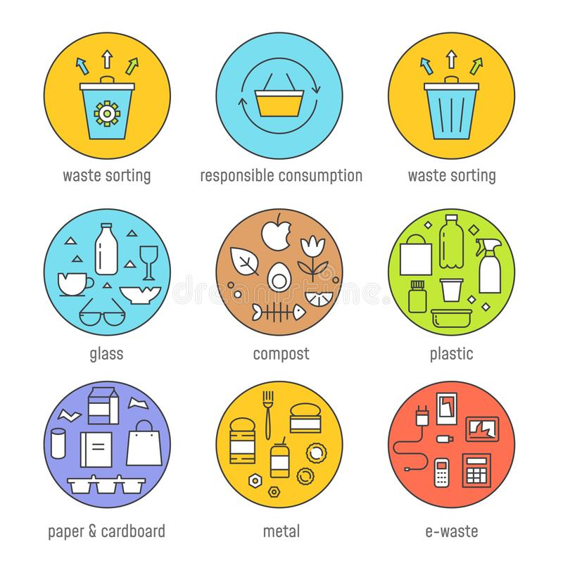 Waste Sorting and Responsible Consumption Vector Graphics Set. Flat Outline Design.  royalty free illustration