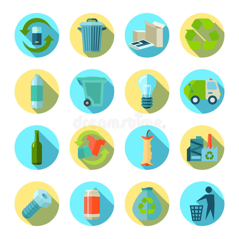 Waste Sorting Round Icons Set. Waste sorting and reduction round icons set with recycling factory flat isolated shadow vector illustration royalty free illustration