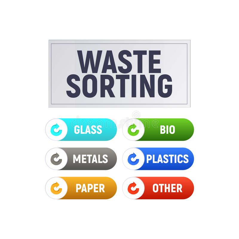 Waste sorting. Separate the recycle garbage. Diagram and infographics. Vector illustration vector illustration
