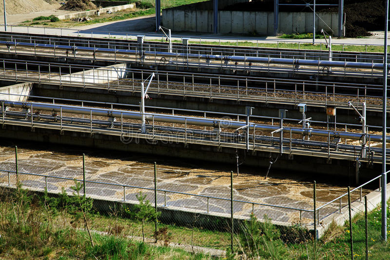 Waste water treatment. Ponds - sewage royalty free stock photography