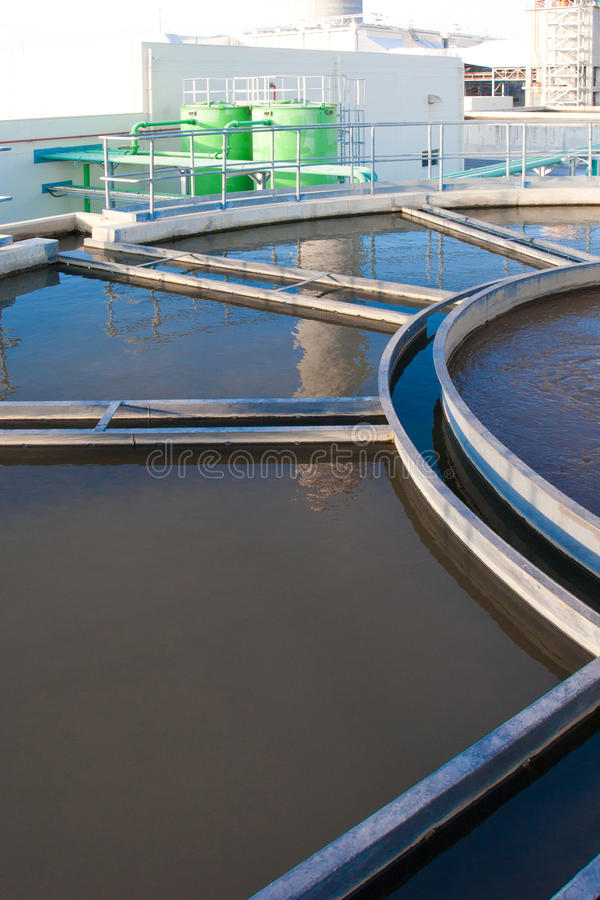 Wastewater treatment pool royalty free stock photos