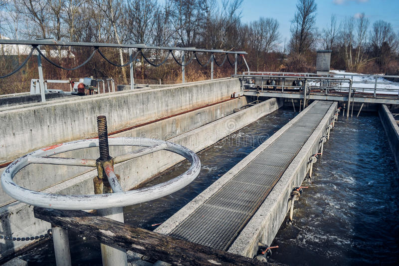 Waste water treatment plant. A bit vintage waste water treatment plant stock image
