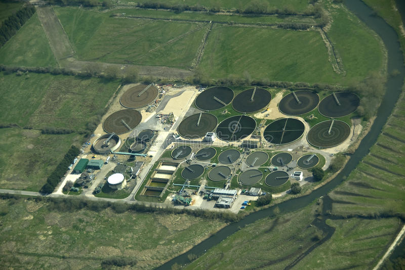 Waste water treatment works. stock photos