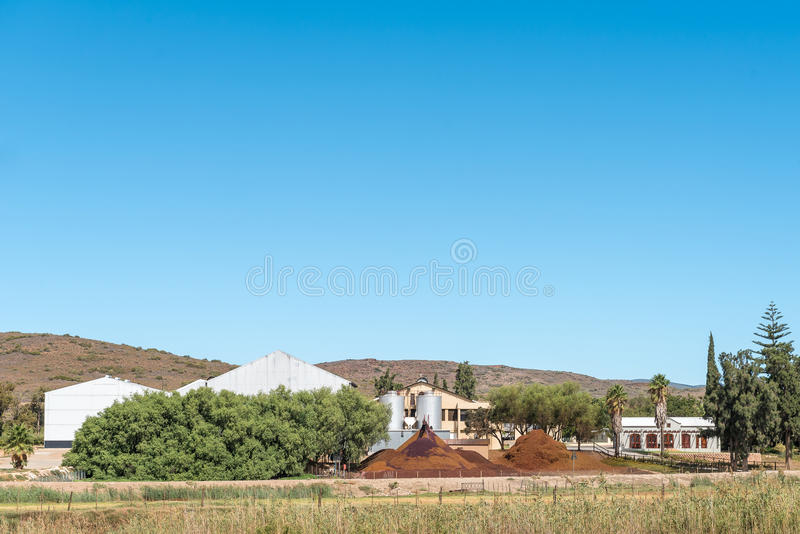 Waste from a winery is used to make compost. BONNIEVALE, SOUTH AFRICA - MARCH 26, 2017: Waste from a winery include biodegradable solids, namely stems, skins royalty free stock photo