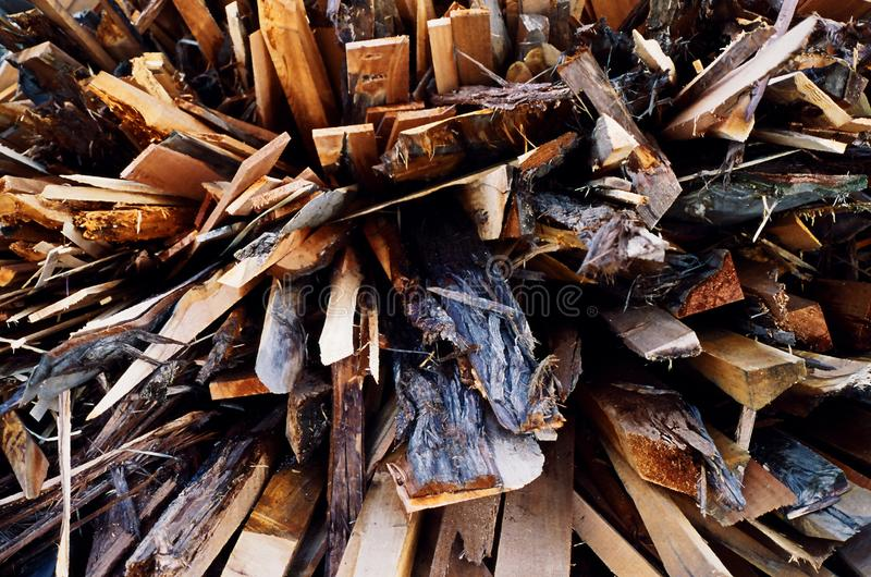 Waste wood timber, radial background.  stock images