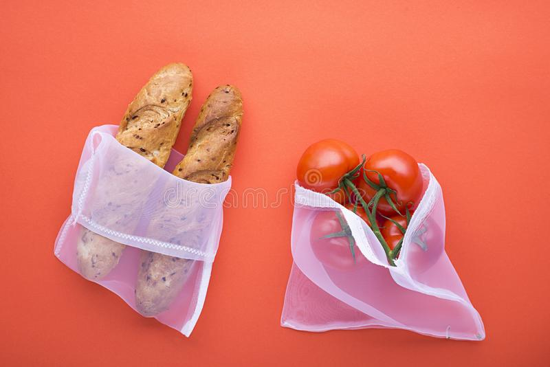 Waste zero reuse concept day eco-friendly design. The trend is no plastic 2019. Fabric bags for shopping with bread and royalty free stock image