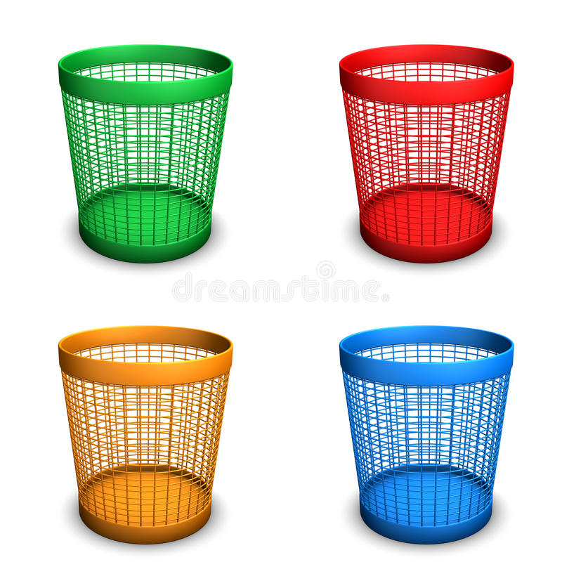 Wastebaskets. Colored wastebaskets with green, orange, red and blue colors. White Background vector illustration