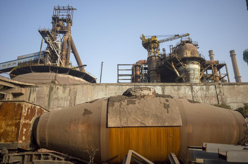 Wasted steel factory with ruin blast furnace. Wasted steel factory in beijing city with ruin blast furnace machine royalty free stock images