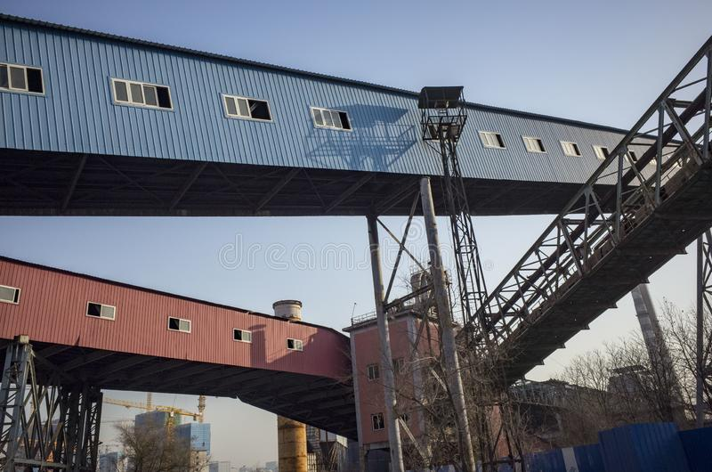 Wasted steel factory. In beijing city with ruin blast furnace machine stock photos