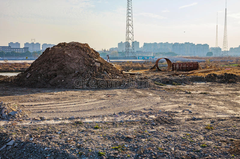 Wasteland in Ningbo China. Wasteland on the city outskirts of Ningbo China stock images
