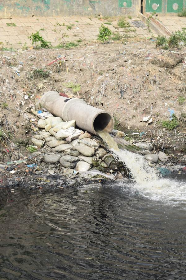 A wastes emission pipe. Wastes emission pipe going out wastages barrel tube reed stock photography