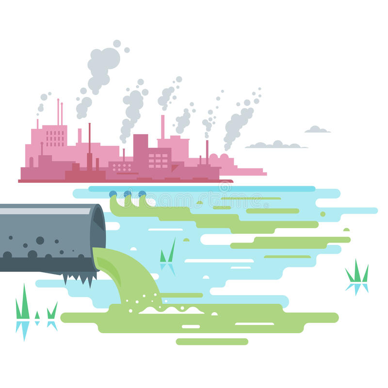 Wastewater Discharge from Plant royalty free illustration