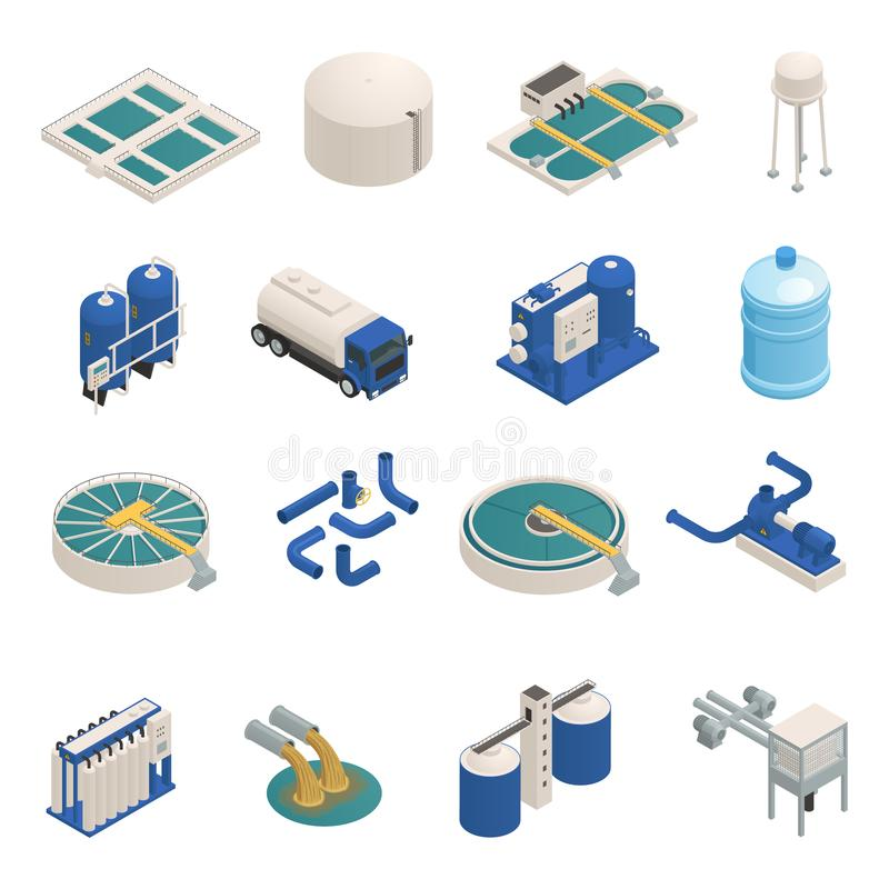 Wastewater Purification Isometric icons Set. Water purification technology elements isometric icons collection with wastewater cleaning filtration and pumping stock illustration