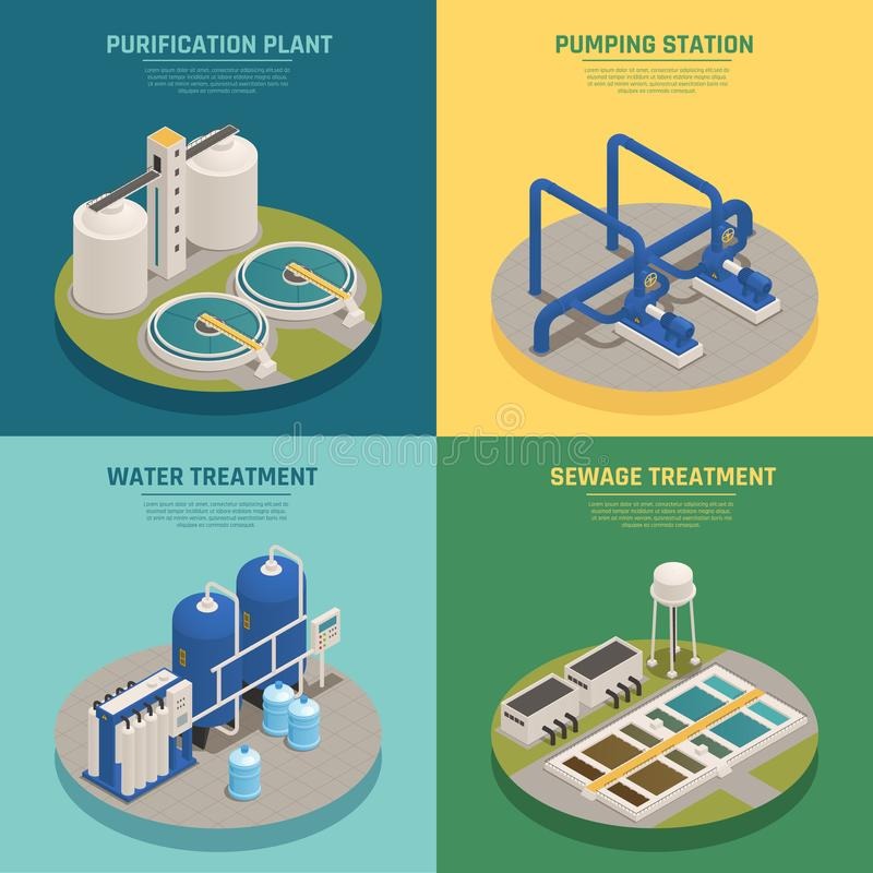 Wastewater Purification Isometric Icons Square. Water cleaning systems 4 isometric icons square with purification plant and sewage treatment background isolated vector illustration