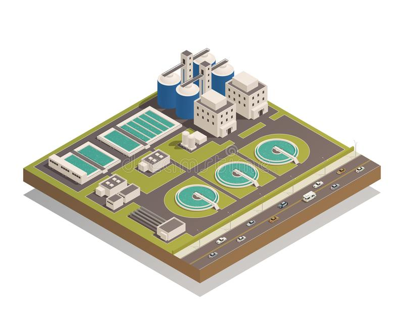 Waste Water Cleaning Isometric Composition vector illustration