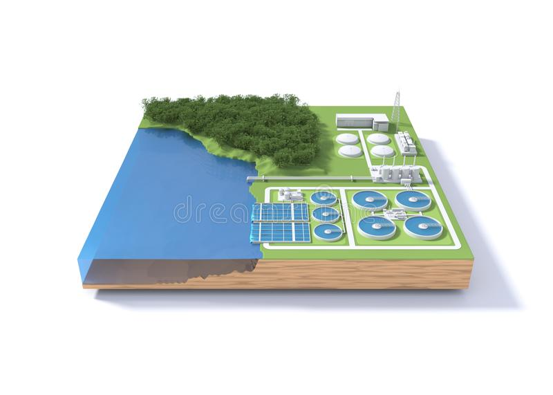 Wastewater treatment plant concept on white background. royalty free illustration