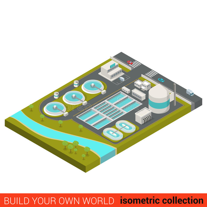 Wastewater treatment plant flat 3d isometric building vector illustration