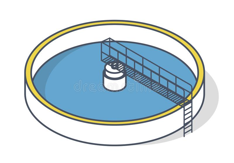 Wastewater treatment plant in stylized outline vector symbol. Isometric infographics vector illustration
