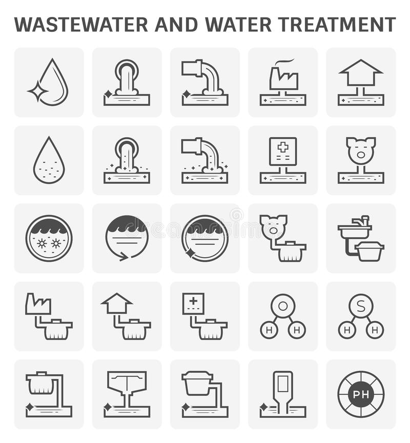 Wastewater water treatment icon stock illustration