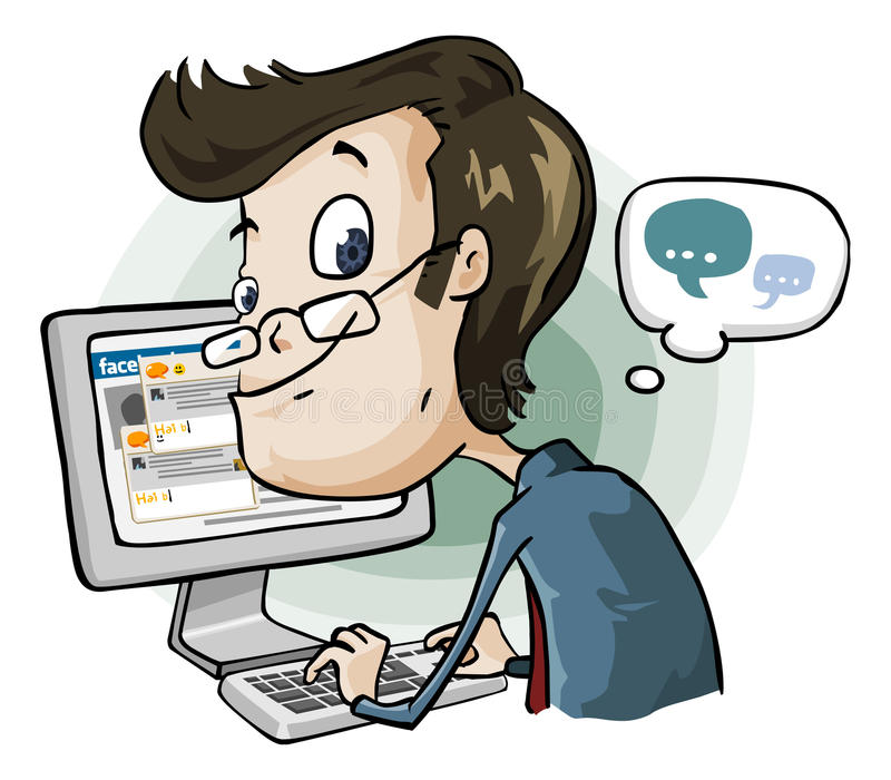 Wasting Time on Facebook and Chat. vector illustration