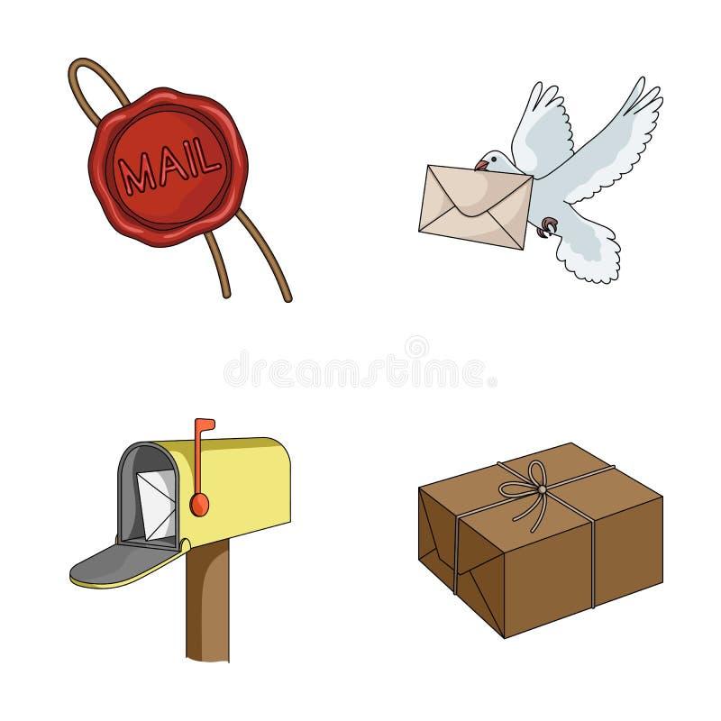 Wasverbinding, postduif met envelop, brievenbus en pakket Post en brievenbesteller vastgestelde inzamelingspictogrammen in de vec vector illustratie