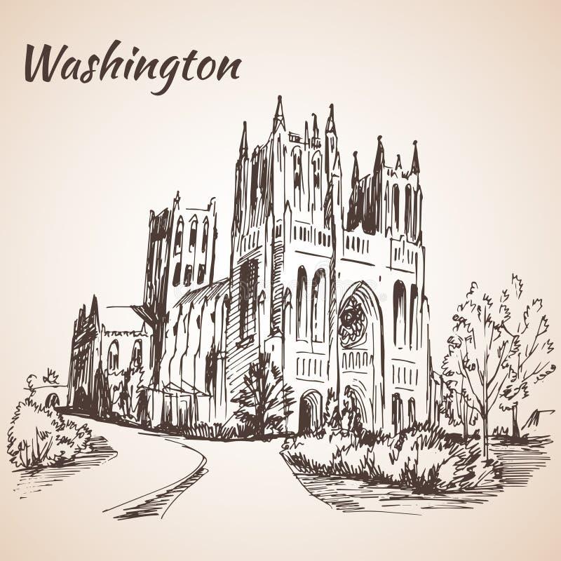 Waszyngtońska Krajowa katedra - usa ilustracja wektor