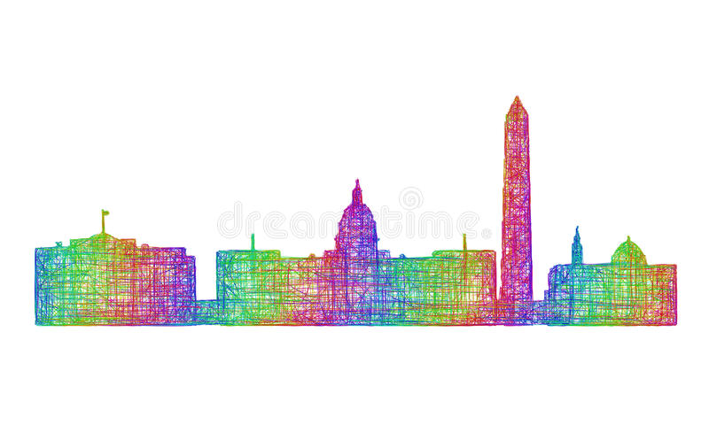 Waszyngtońska linii horyzontu sylwetka - multicolor kreskowa sztuka royalty ilustracja
