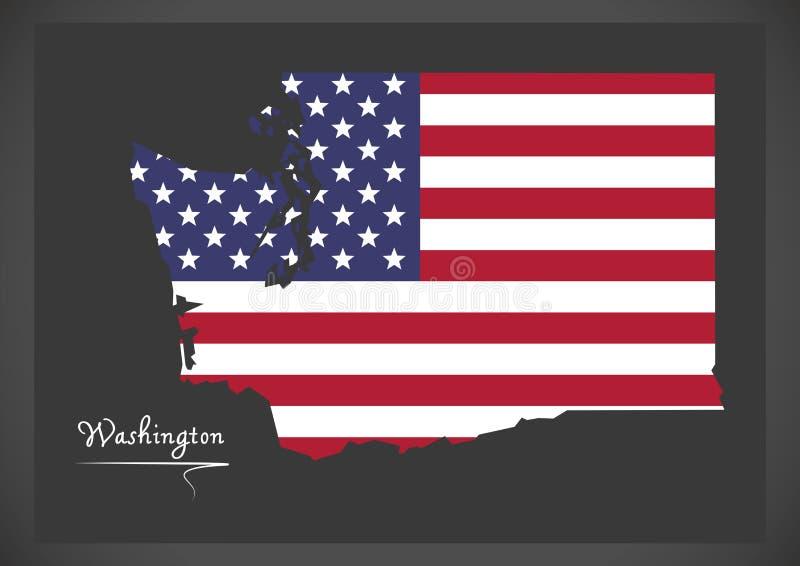 Waszyngtońska mapa z Amerykańską flaga państowowa ilustracją ilustracja wektor