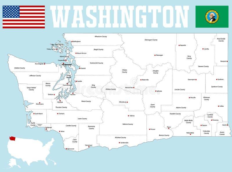 Waszyngtońska okręg administracyjny mapa ilustracji