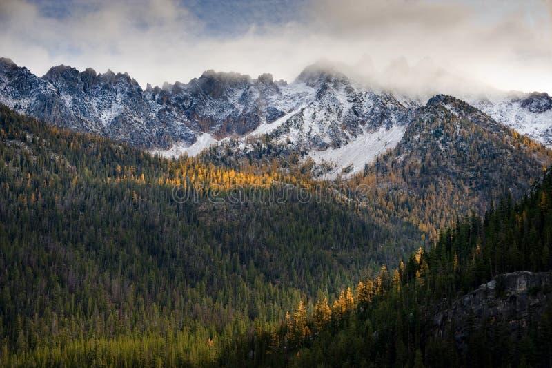 Waszyngtońska przepustka Wzdłuż Północnej kaskady autostrady Podczas jesień sezonu obraz stock
