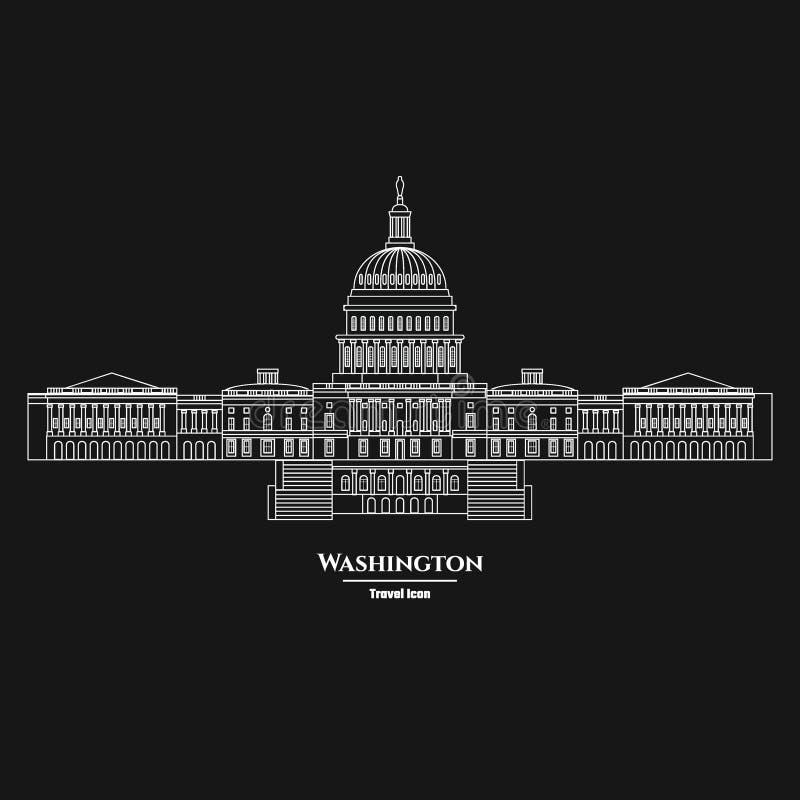 Waszyngtońska Stany Zjednoczone Capitol ikona 1 ilustracji