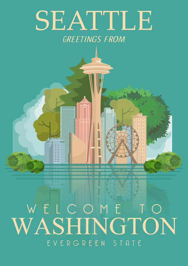 Waszyngtoński wektorowy amerykański plakat USA podróży ilustracja Stany Zjednoczone Ameryka karta 1 lotu ptaka s royalty ilustracja