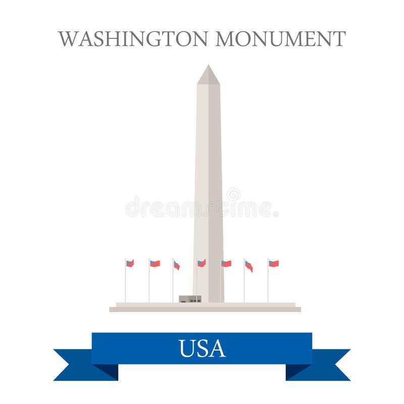 Waszyngtoński zabytek Stany Zjednoczone Płaski kreskówki st ilustracja wektor