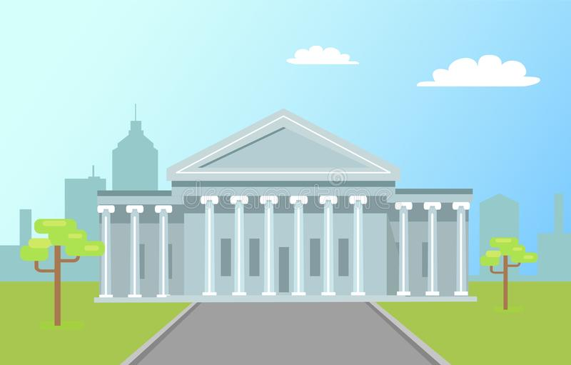 Waszyngtońskich Capitol Wysokich kolumn Drogowa Zielona trawa ilustracja wektor