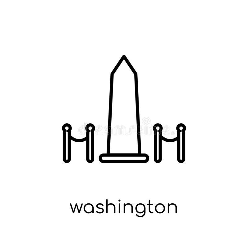 Waszyngtońskiego zabytku ikona Modny nowożytny płaski liniowy wektorowy Washi ilustracja wektor