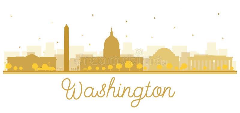 Waszyngtońskiej dc miasta linii horyzontu złota sylwetka ilustracja wektor