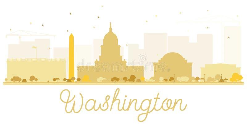 Waszyngtońskiej dc miasta linii horyzontu złota sylwetka royalty ilustracja