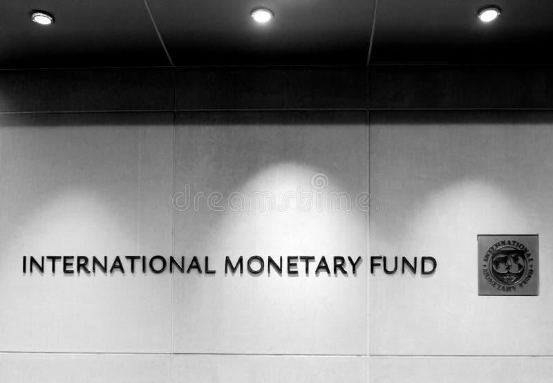 Waszyngton, DC - Czerwiec 04, 2018: Emblemat Międzynarodowy Monetarny fotografia royalty free