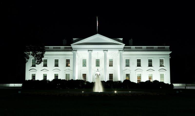 Waszyngton, DC - przód Biały dom przy nocą fotografia stock