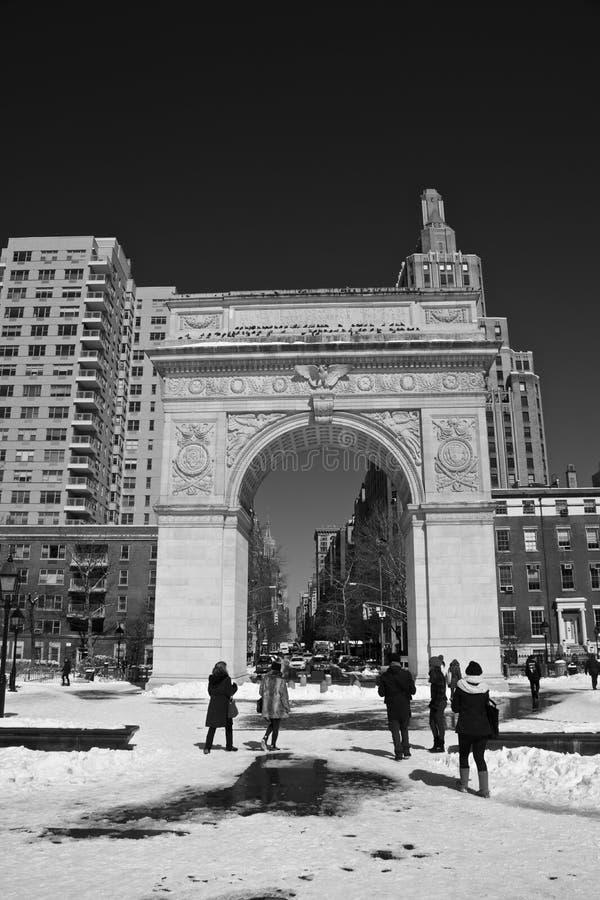 Waszyngton kwadrata park w śniegu zdjęcie stock