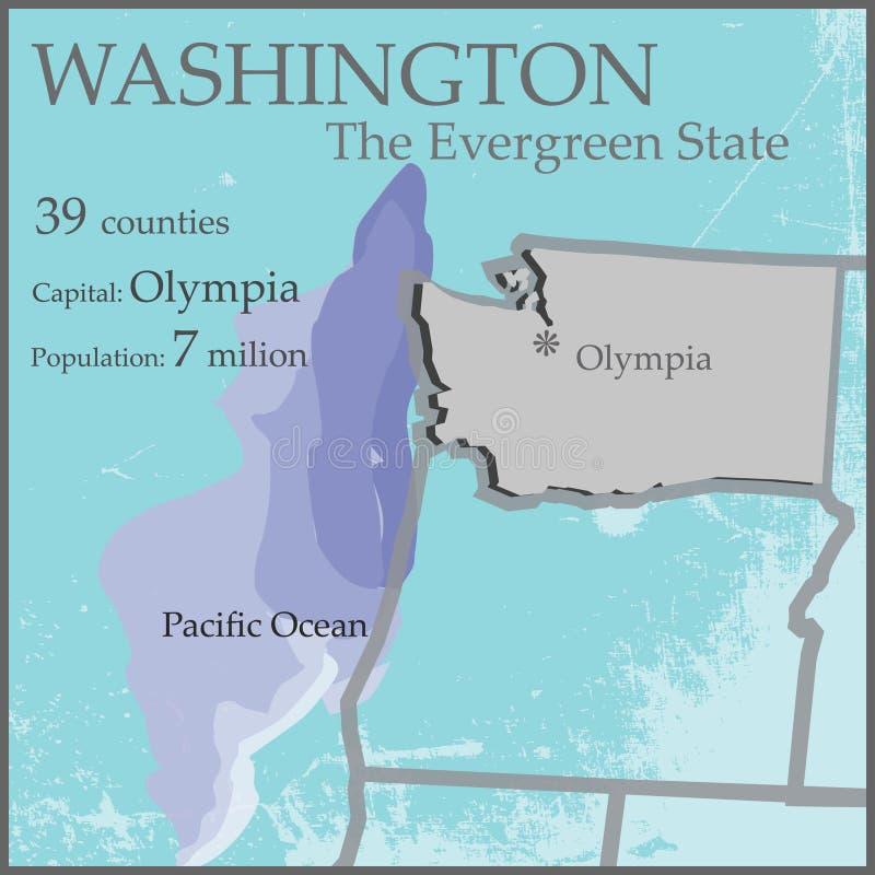 Waszyngton Wiecznozielona stan mapa royalty ilustracja