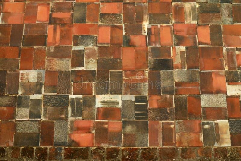 Wat亚伊柴Mongkhon寺庙,阿尤特拉利夫雷斯考古学站点,泰国老赤土陶器砖地板的惊人样式  库存照片
