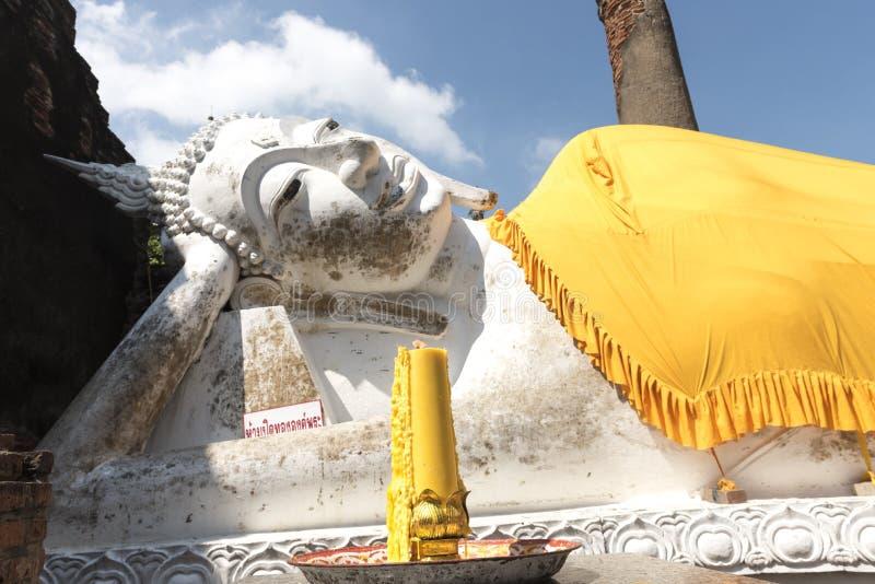 Wat亚伊柴Mongkol,阿尤特拉利夫雷斯,泰国 免版税图库摄影