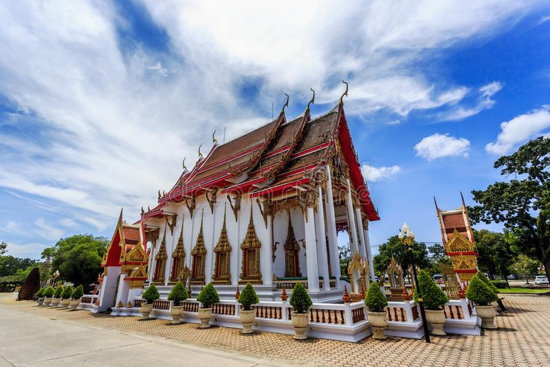 Wat查龙是普吉岛最重要的寺庙  免版税库存照片