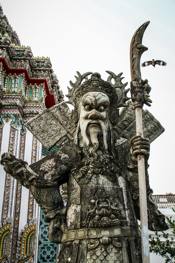 Wat的Pho,拍那空县,曼谷,泰国石战士 免版税图库摄影